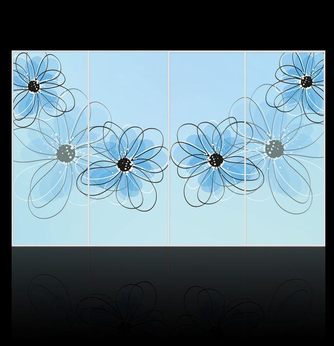 简洁艺术花卉移动门图案设计