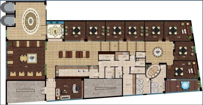 茶楼室内平面布置图