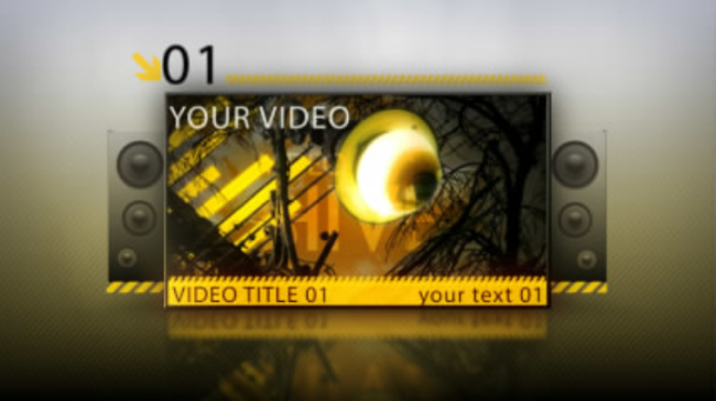 黄色摇滚动感音乐片头模板