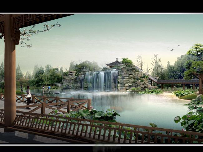 景区亭廊瀑布水景园林景观效果图 园林设计 室