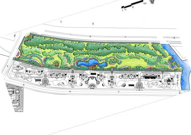 居住区公园景观平面图手绘彩平分层psd