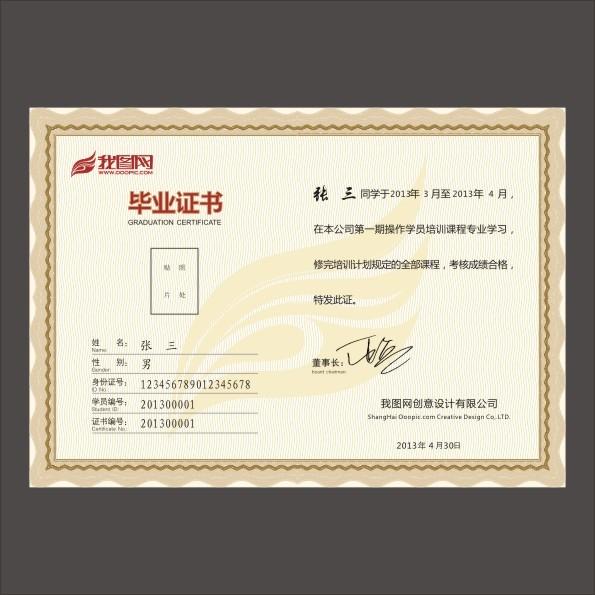 培训毕业证书-证书|荣誉证书-vip卡|名片模板