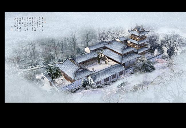 【psd】公园中式四合院仿古建筑雪景鸟瞰psd