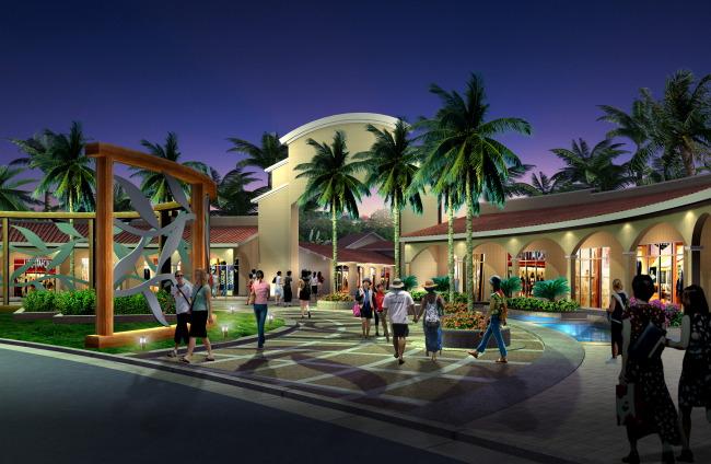 商业街入口景观夜景亮化效果PSD图片