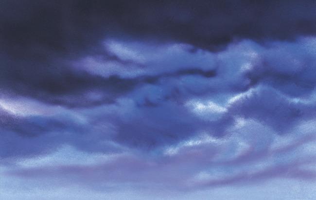 天空水彩画风景步骤分解图