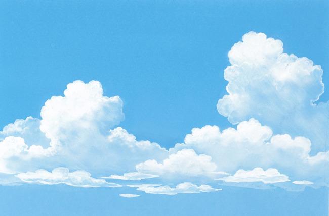 手绘蓝天白云图片
