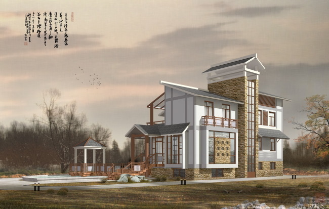 建筑效果图3 建筑效果图 园林景观设计效果图psd素材