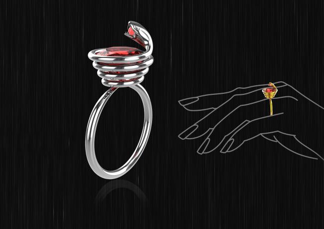 蛇形钻石戒指(犀牛模型附两张高清效果图)