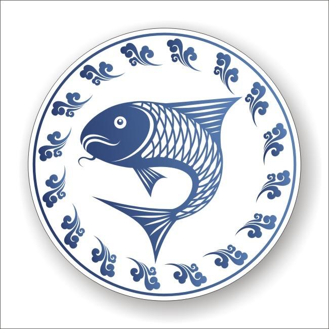 鱼 鱼盘 挂盘 青花瓷 鲤鱼 盘子 水波 浪花 艺术 设计 圆盘 矢量图
