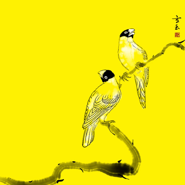 原创手绘中国风工笔花鸟无框画psd分层图