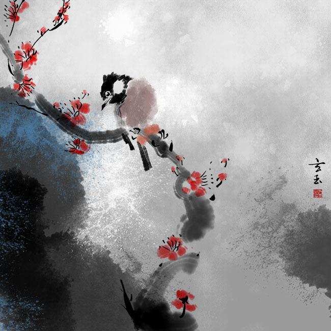 原创手绘中国风花鸟无框画psd分层图
