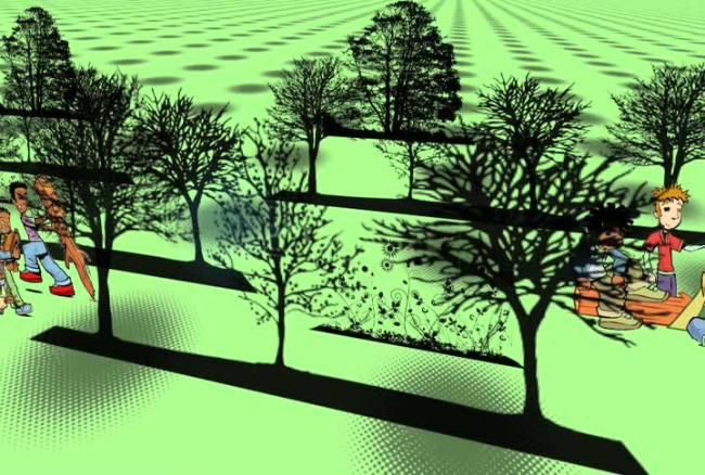 3d绿色树林人群动态视频背景素材