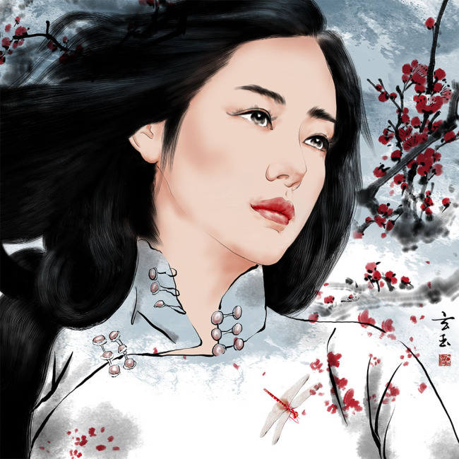 原创手绘中国风旗袍美女无框画psd分层图