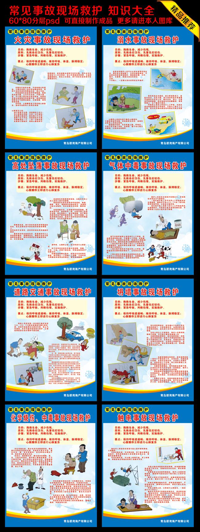 首页 正版设计稿 展板设计 2014安全生产月展板 >常见各种事故救护
