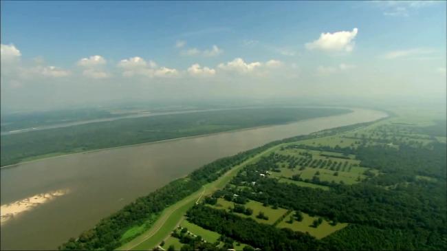 航拍河流交汇森林田野高清视频素材