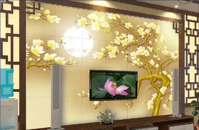 客厅电视背景墙图片-手绘电视背景墙-电视背景墙