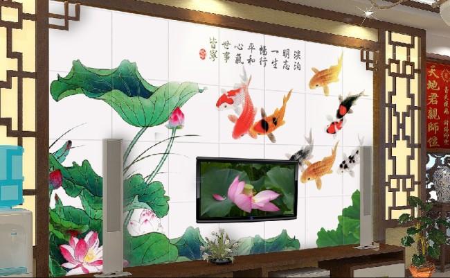 客厅电视背景墙荷花鱼图片-手绘电视背景墙-电视背景墙