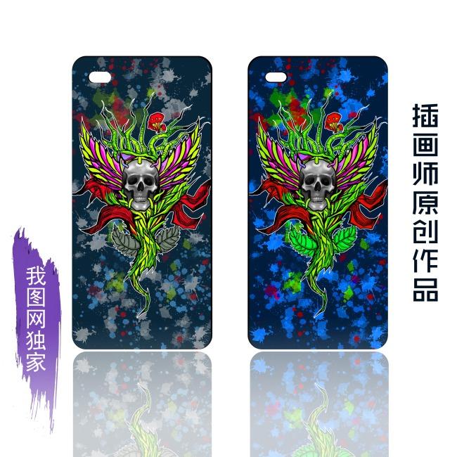 iphone5苹果手机壳鲜花骷髅图案模板
