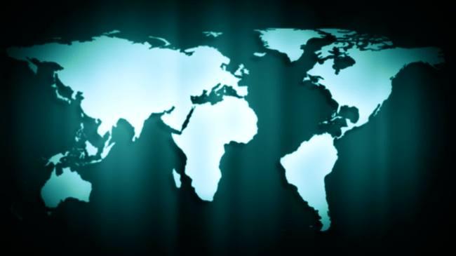 旋转世界地图墨绿色背景超高清视频背景素材