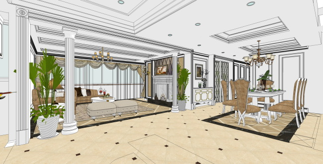 sketchup8模型3d欧式客餐厅