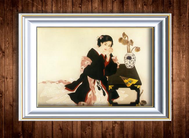 现代古装人物油画装饰画