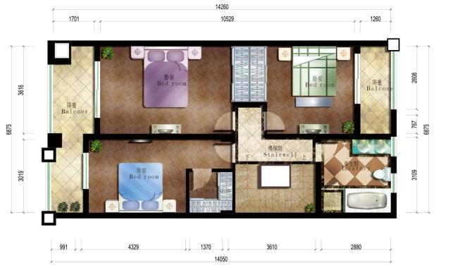 三层别墅设计平面布置图 cad图纸 室内装饰 无框画