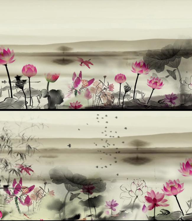 水墨荷花画法视频分享展示