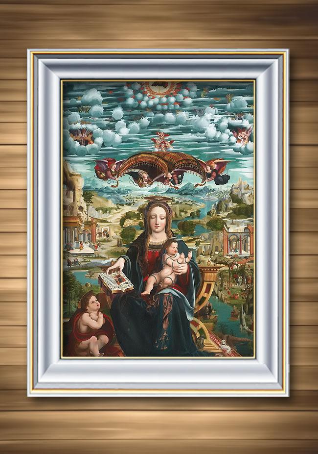 圣母与怀里的孩子古典主义宗教题材油画