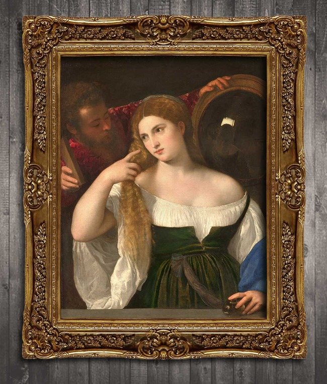 梳妆镜前古典主义风格人物油画