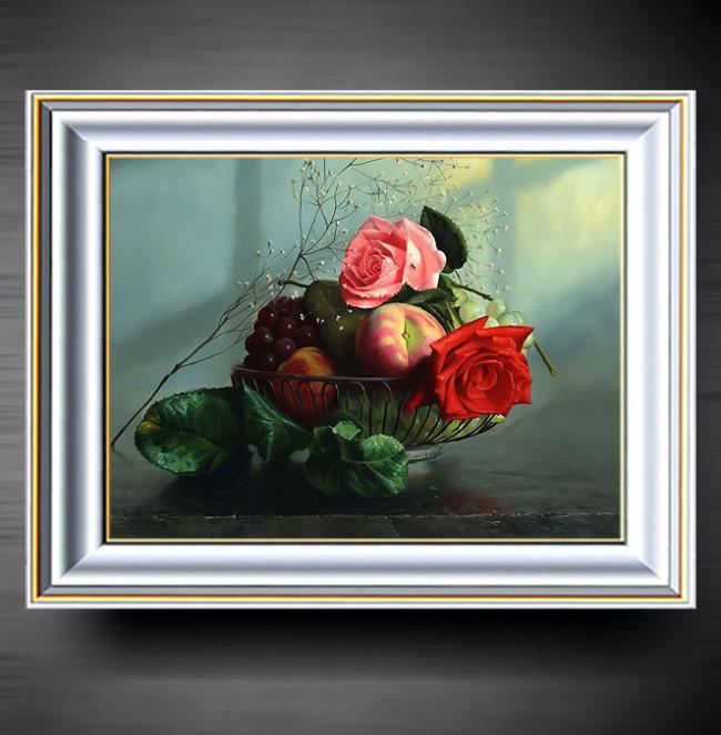 玫瑰与苹果油画装饰画
