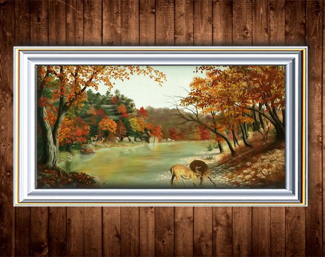 秋天的风景油画装饰画