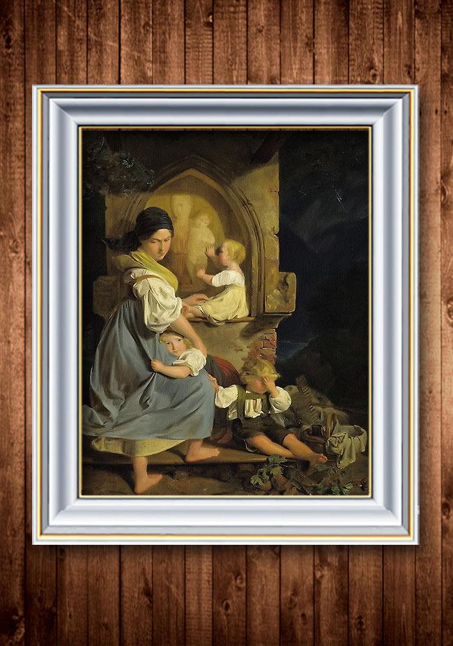 看护幼儿古典主义风格人物油画