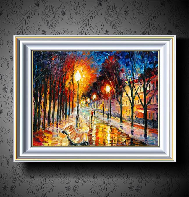 路灯下的街道欧洲风景油画