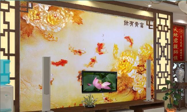 图片名称:客厅彩雕牡丹电视背景墙