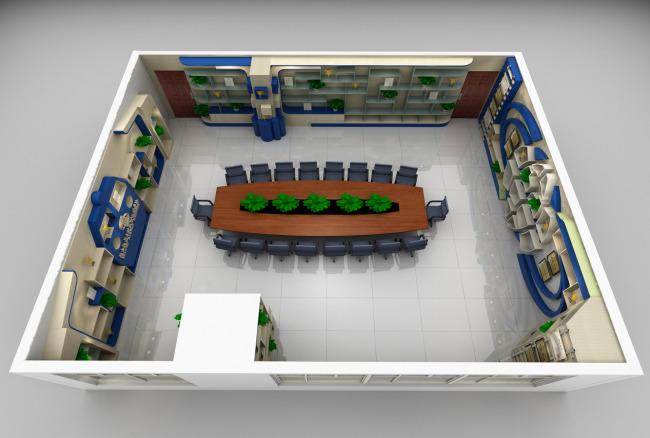 学校荣誉室设计 室内模型 3d模型下载 模型库 3d效果