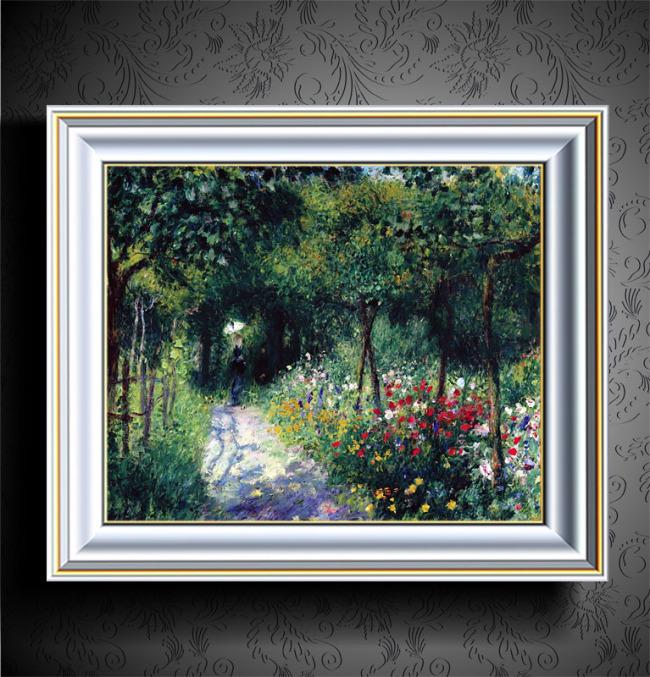 花园小路欧洲风景油画