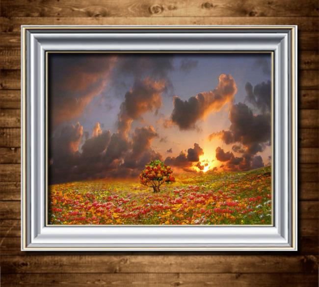 夕阳下的花海欧洲风景油画