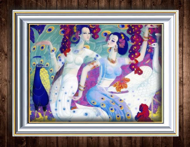 古装人物装饰画油画-油画-室内装饰|无框画|背景墙