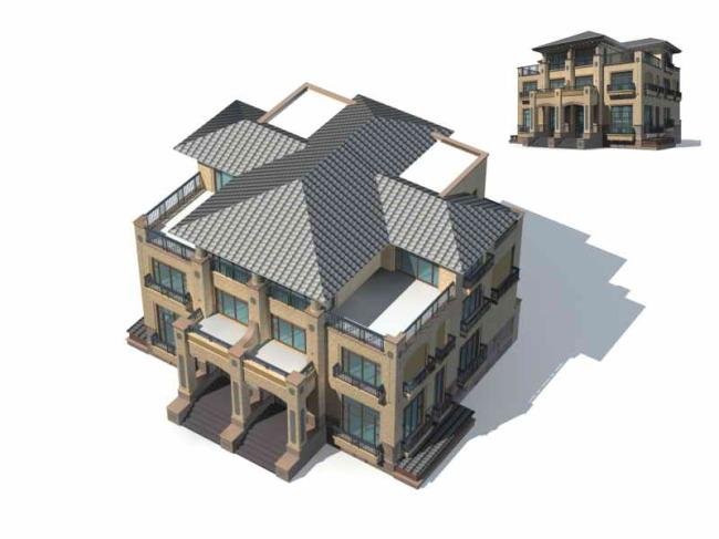 室外建筑模型下载3d别墅模型设计欧式别墅-商业住宅