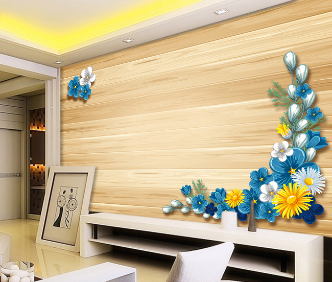 【psd】木纹花朵图案客厅电视背景墙