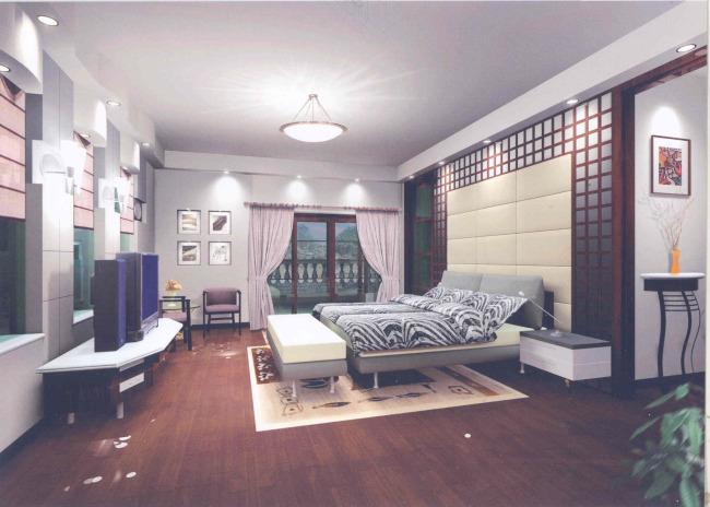 现代中式卧室效果图(3d源 素材)图片