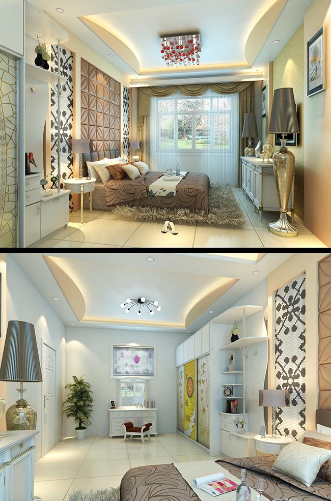 卧室3d模型带高清渲染图-室内设计-其他