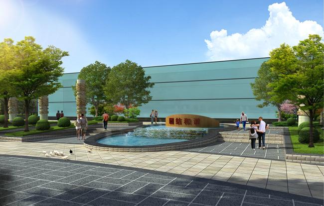 下沉式廣場入口跌水景觀設計效果圖-園林景觀設計-其他