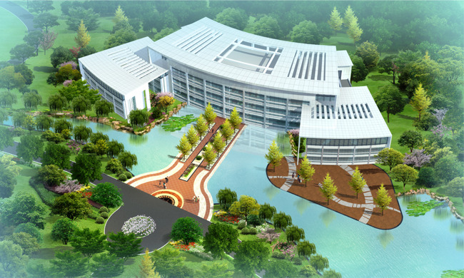【psd】某图书馆景观规划设计效果图