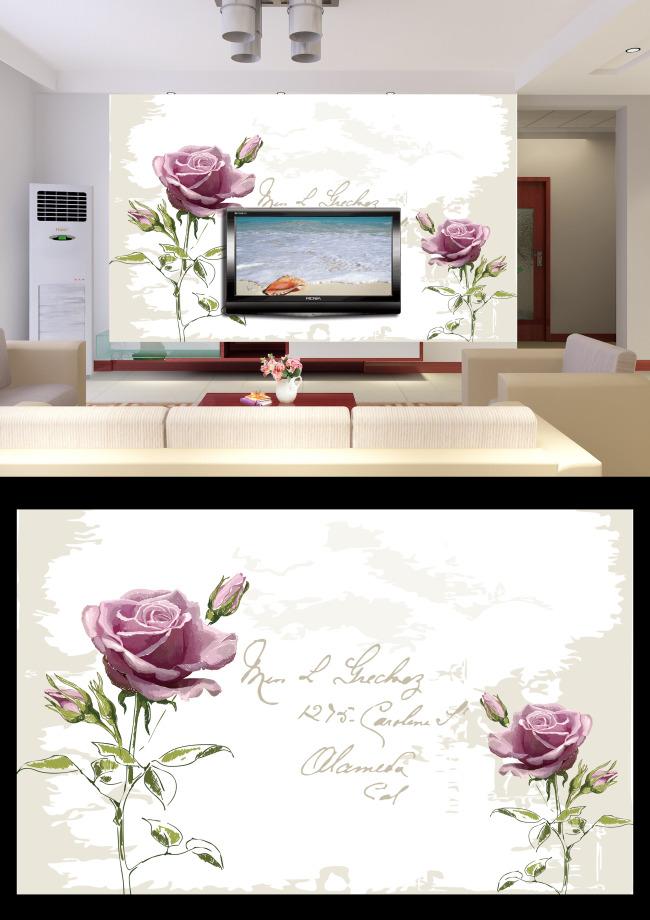 手绘浪漫玫瑰花电视背景墙设计模板下载