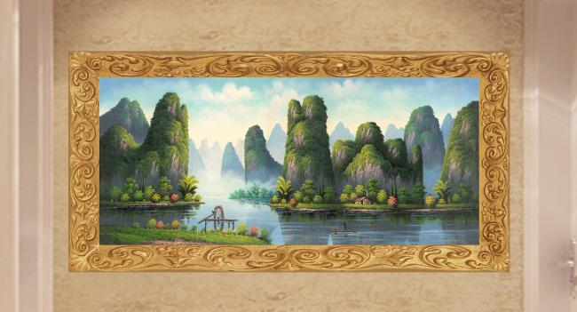 中式精美山水装饰挂画图片