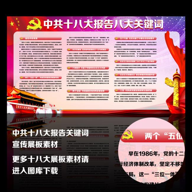 十八大报告八大关键词宣传展板