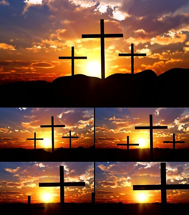 晨光晚霞十字架山丘风景视频素材-动态|特效|背景