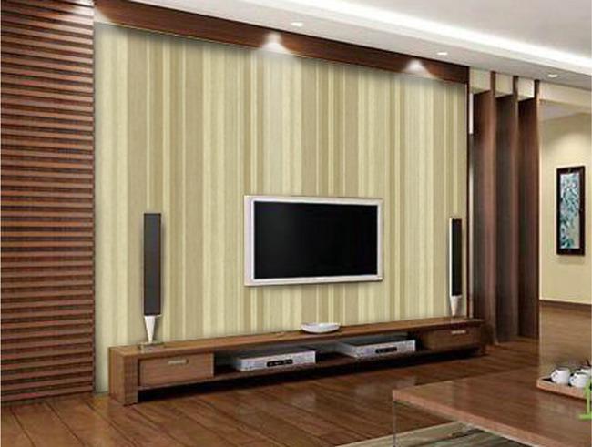 驼色线条简约木质电视背景墙-欧式电视背景墙-电视