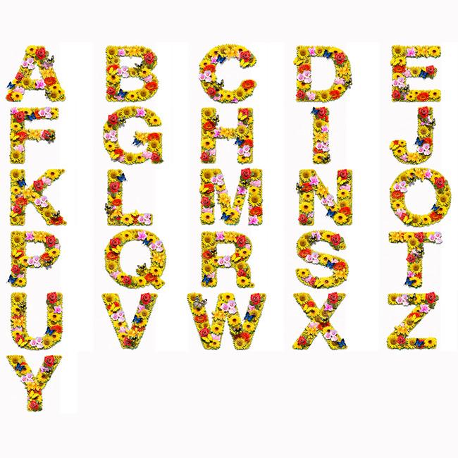 英文字母艺术字 立体字母 可爱英文字母设计 花朵字母 说明:创意字母
